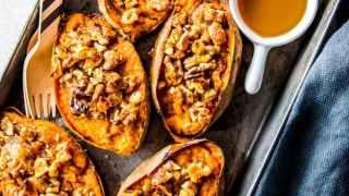 Maple Walnut Twice Baked Sweet Potatoes