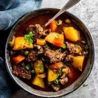 crock pot beef stew on a plate