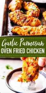 Garlic Parmesan Crispy Oven Fried Chicken Pin Image 1