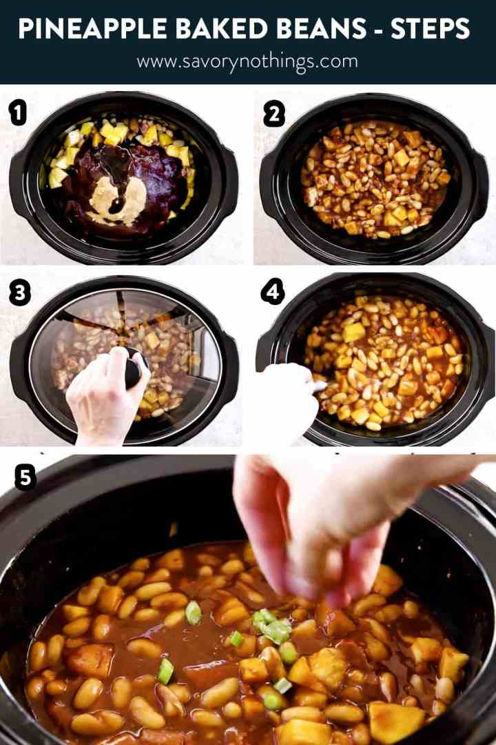 photo collage of pineapple baked beans steps