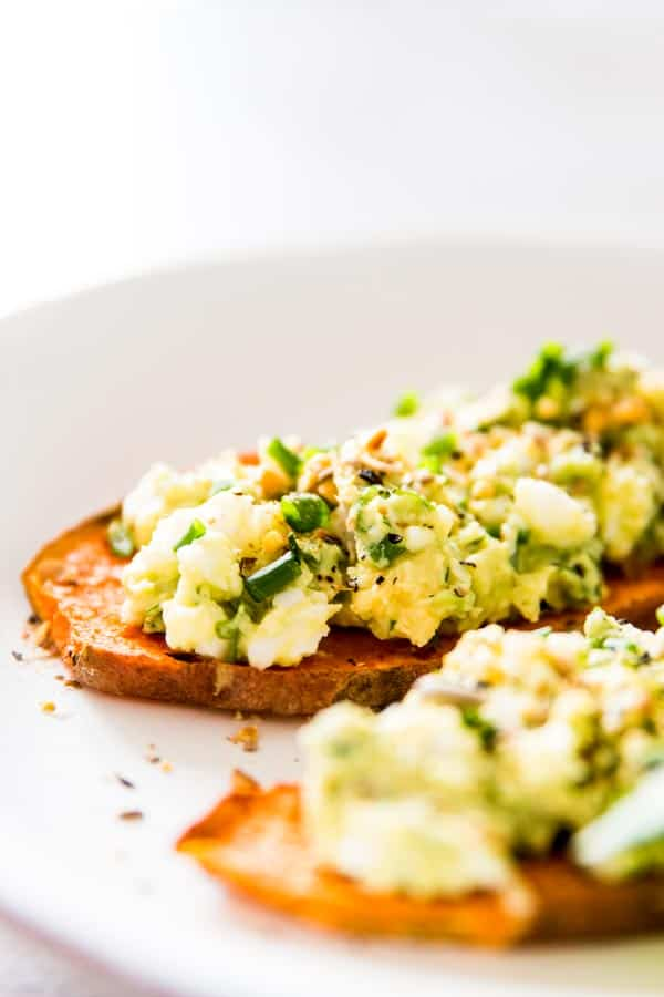 avocado egg salad on sweet potato toast