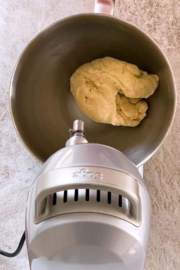 kneaded dough in a stand mixer