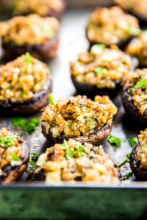 sheet pan with stuffed mushrooms