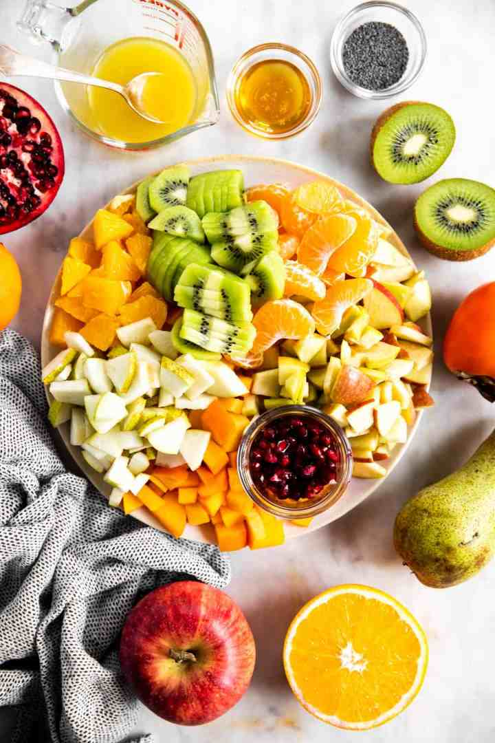overhead view of platter with cut up fruit