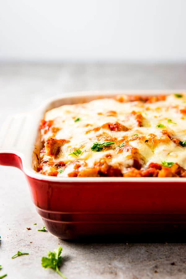 Baked ziti with sausage hot out of the oven.