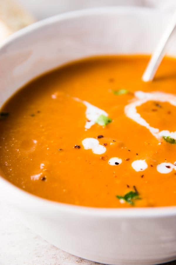 Close up photo of easy tomato soup.