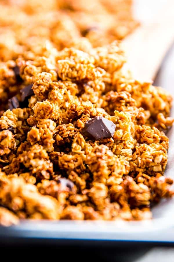 Dark chocolate chunks in peanut butter granola.
