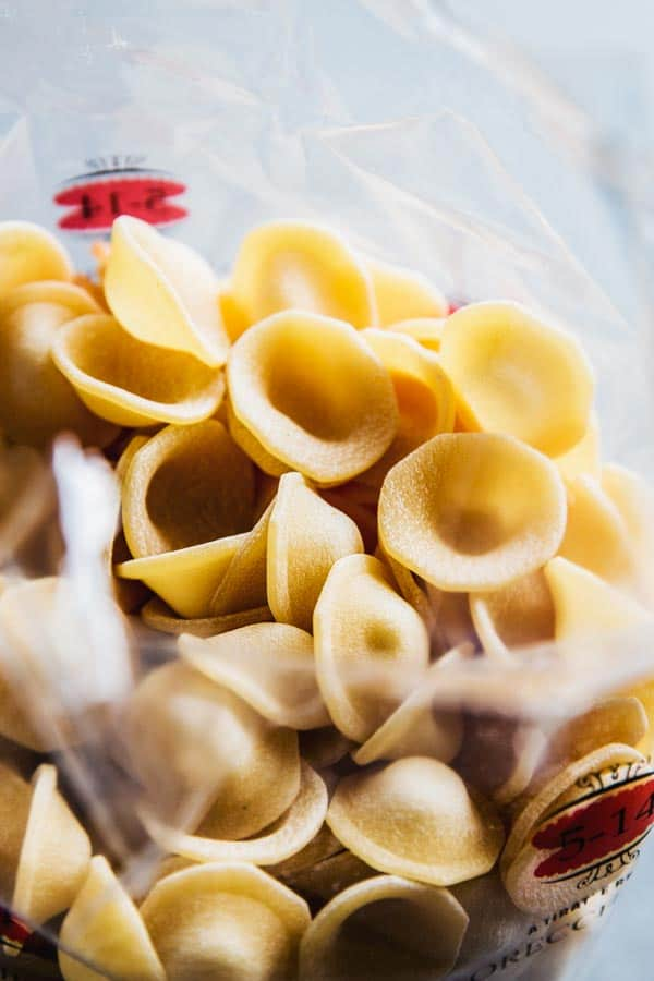 Orecchiette pasta from Garofalo in an opened package.