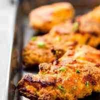 Buttermilk Oven Fried Chicken on a baking pan.