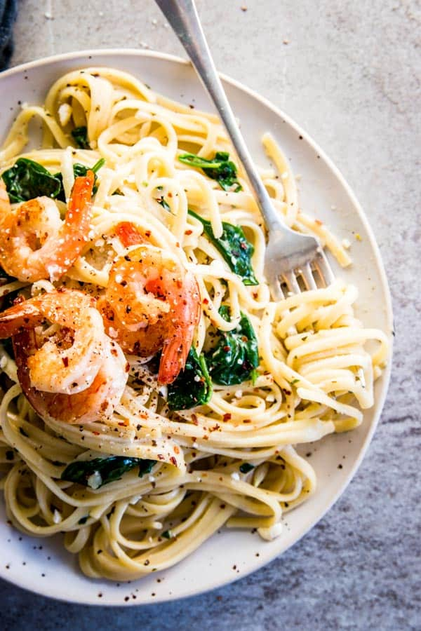 Creamy Garlic Butter Shrimp Pasta, plated.
