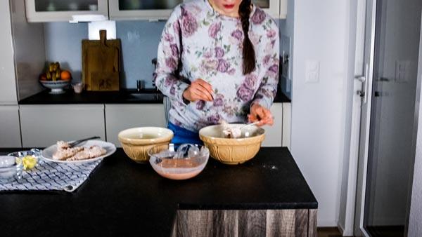 How To Make Buttermilk Oven Fried Chicken: Dredging chicken in flour