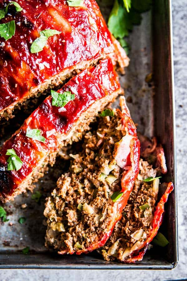 close up photo of bacon wrapped meatloaf