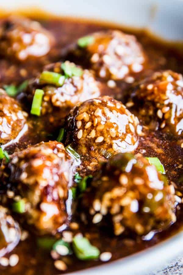 Close up photo of Korean BBQ Meatballs.