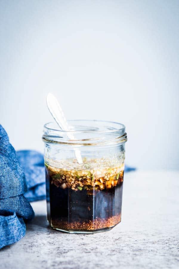 koren BBQ Sauce before cooking, in a glass jar.