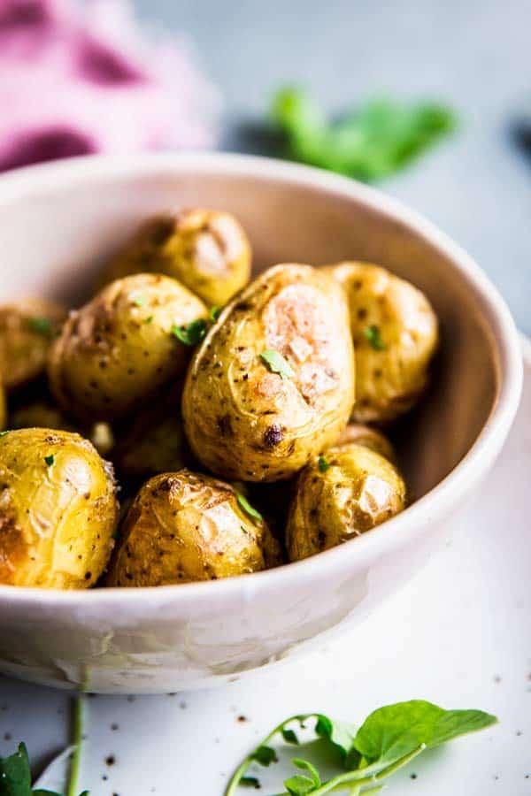 Close up photo of roasted baby potatoes.