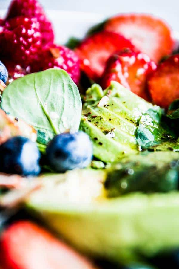 Close up photo of Spinach Avocado Salad.