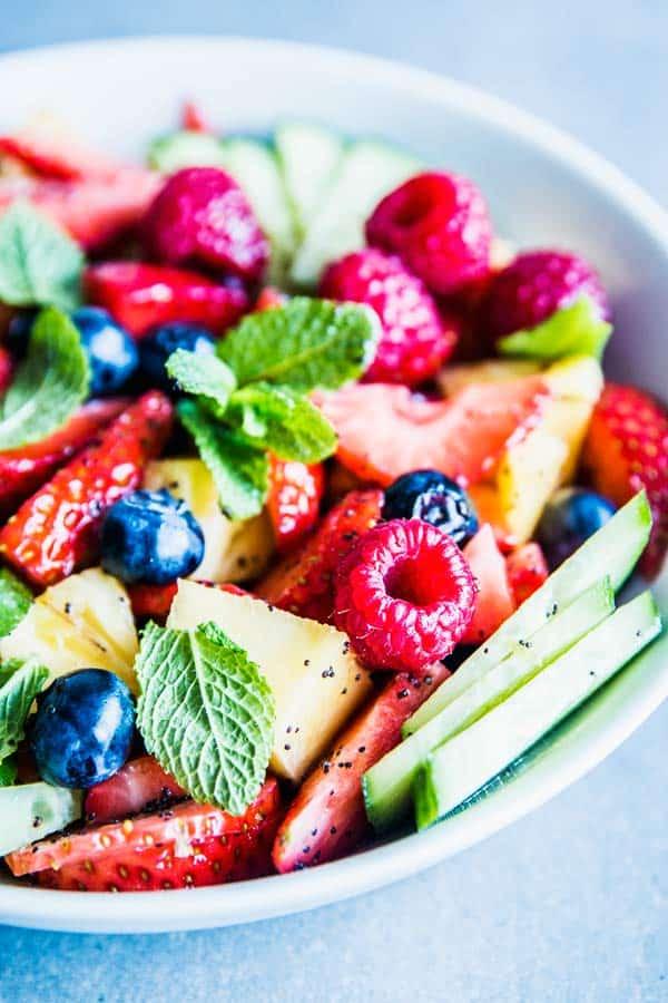 Close up photo of summer fruit salad.