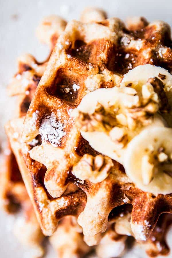 Close up photo of banana nut waffles.