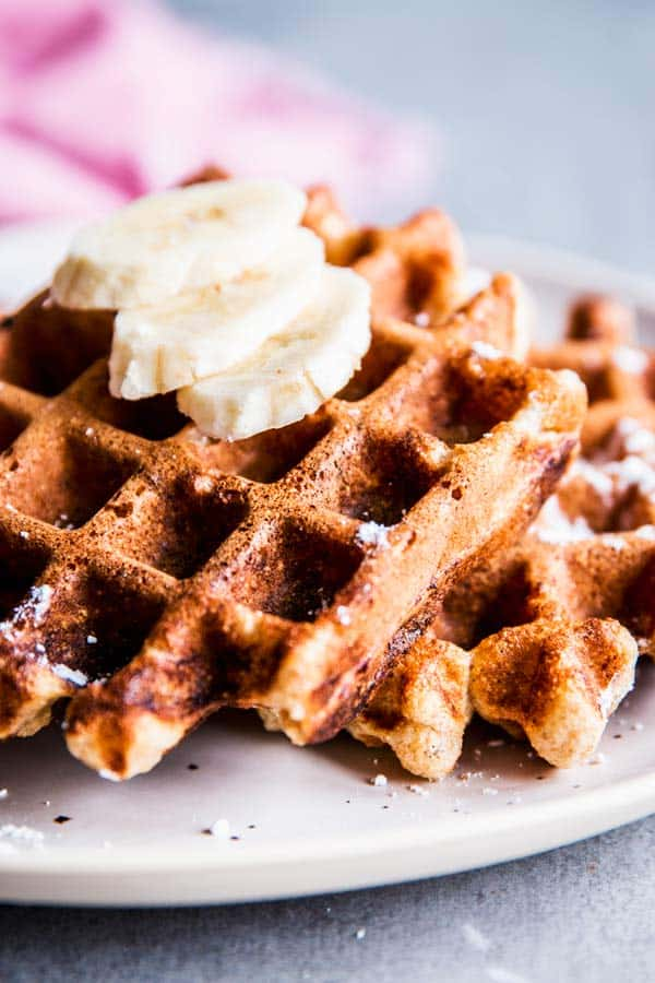 Healthy Banana Waffles on a plate.