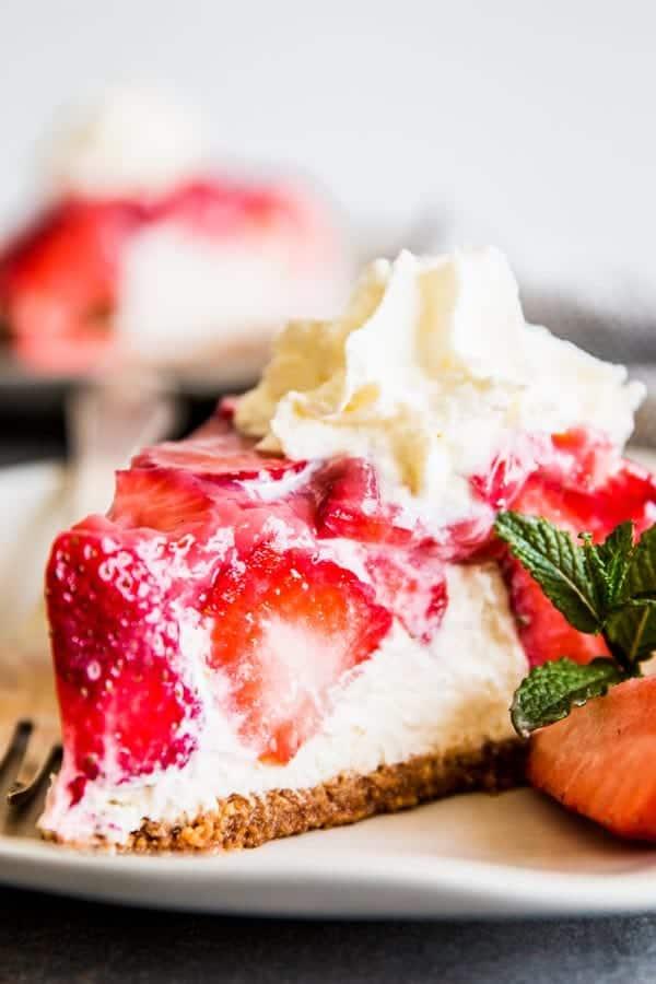 No Bake Strawberry Pie on a plate.
