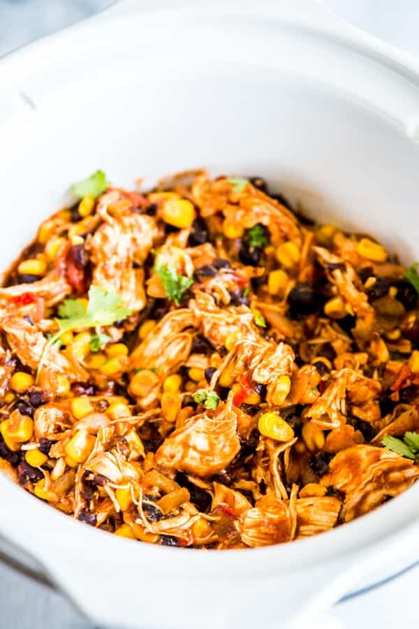 Mexican chicken in the crockpot for southwestern crockpot chicken tacos