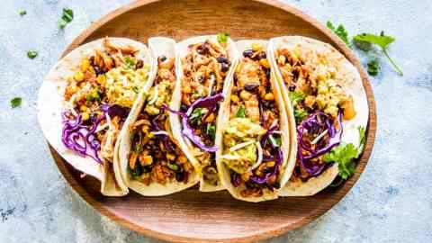 southwestern crockpot chicken tacos on a plate