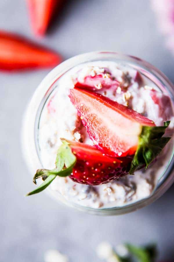 Vanilla Strawberry Overnight Oats in a jar from above.