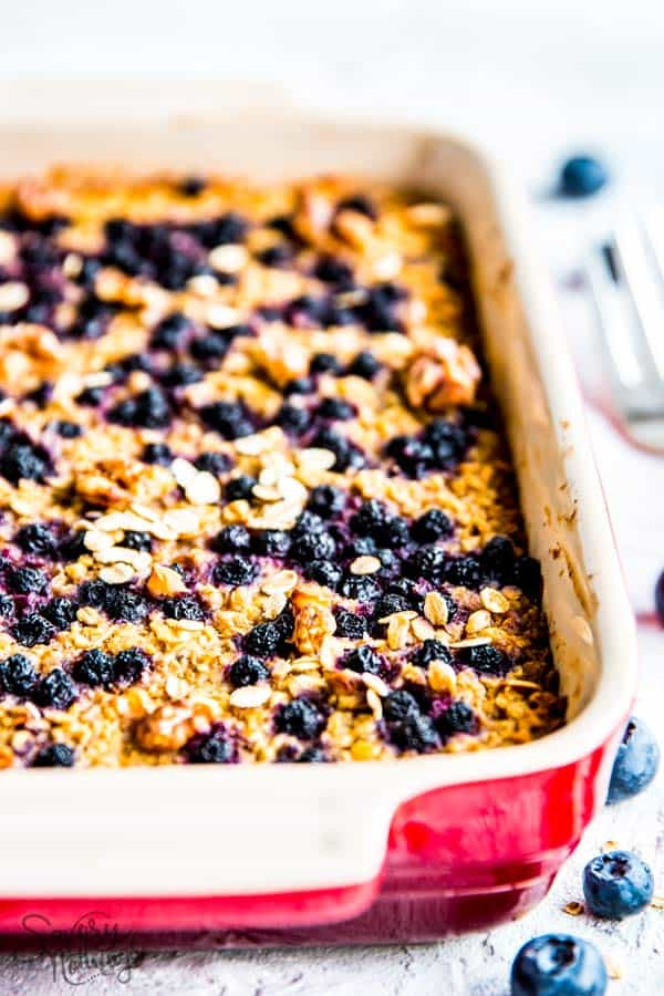 blueberry baked oatmeal for trim healthy mama in a casserole dish