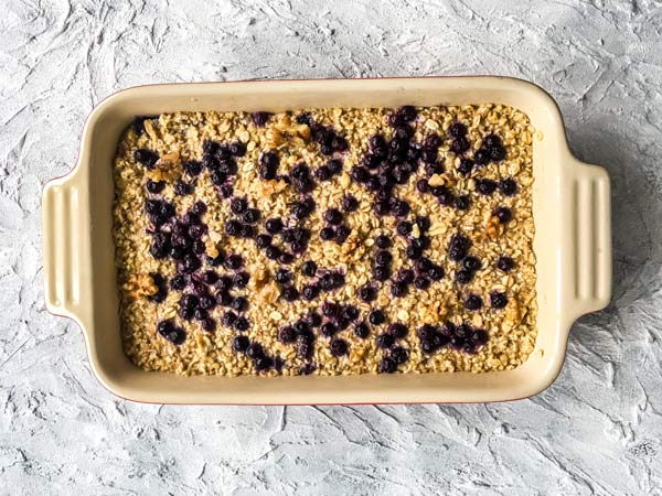 overnight chilled blueberry baked oatmeal