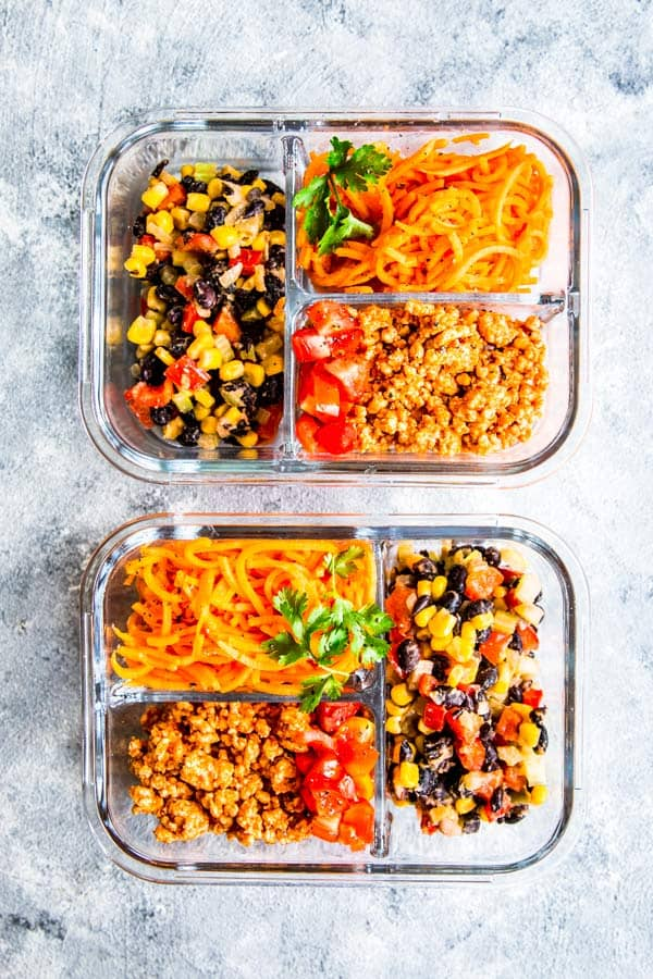 sweet potato turkey taco meal prep lunch bowls