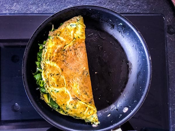 finished omelette in a skillet