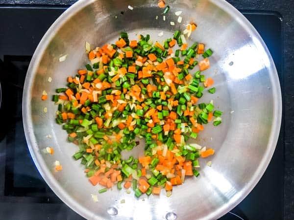 mirepoix to make tomato sauce for Italian meatballs
