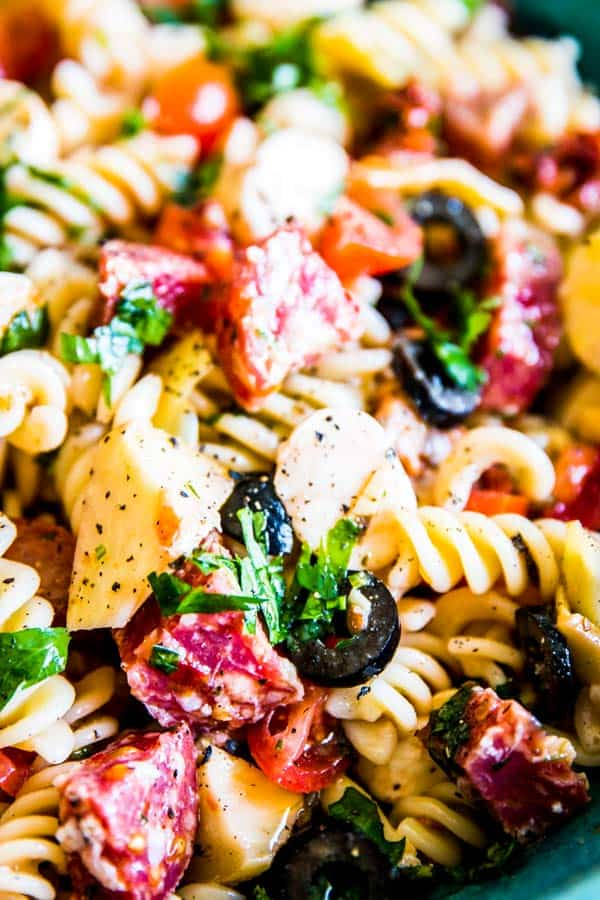 close up photo of Italian pasta salad