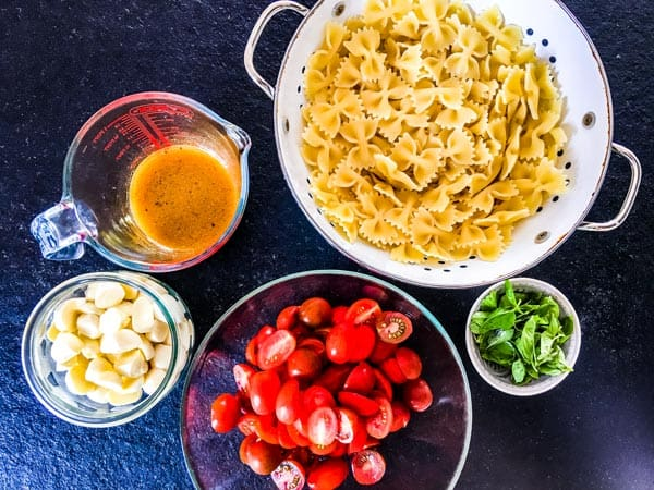 ingredients for caprese pasta salad