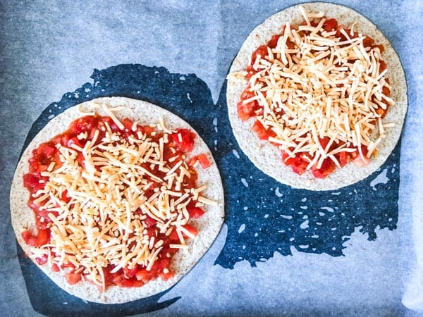 Tortillas with salsa and cheese
