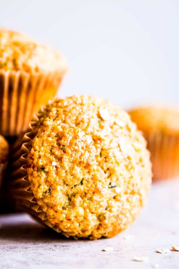 zucchini oatmeal muffins on the counter