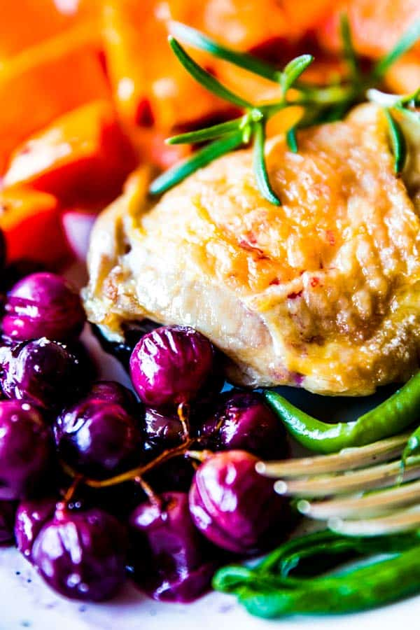 close up photo of chicken and grapes