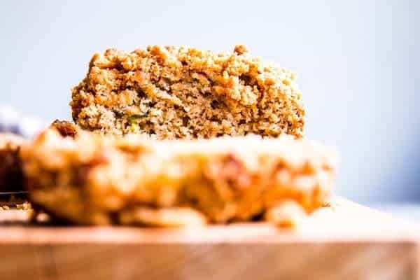 cinnamon crunch zucchini bread on a wooden chopping board