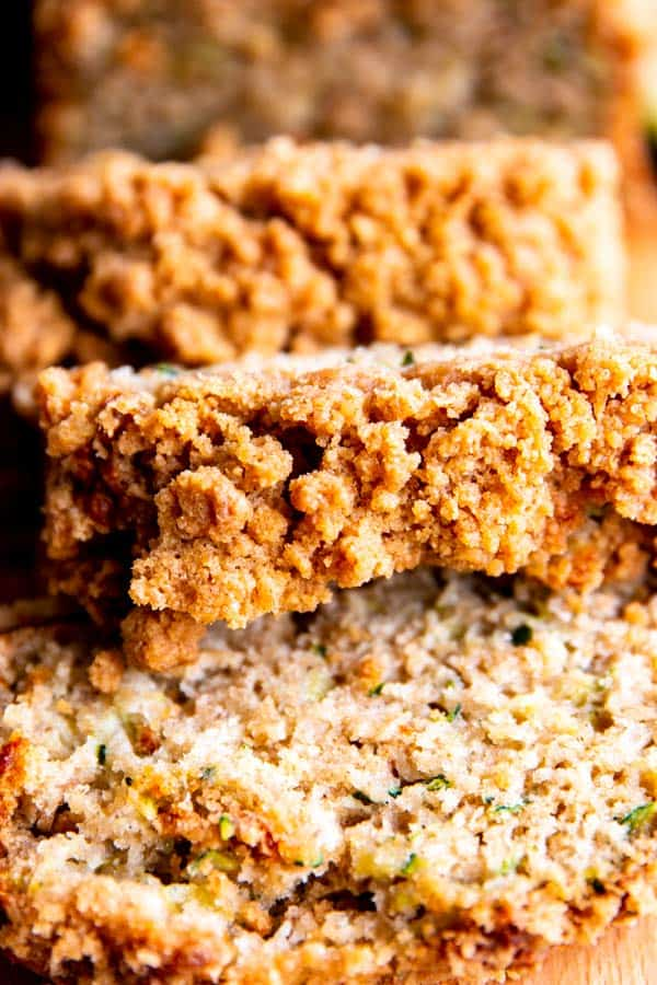 close up of cinnamon crunch banana bread