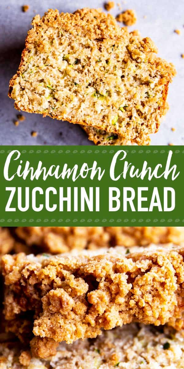 Cinnamon Crunch Zucchini Bread is a quick and easy to whip up treat. Serve it for breakfast or brunch, or tuck it into a lunchbox as a tasty snack. This recipe is made more nutritious through the addition of ingredients like oat flour, honey and plenty of healthy zucchini! | #recipe #easyrecipes #baking #easybaking #zucchinibread #zucchini #lunchbox #breakfast #brunch #backtoschool #kidfriendly