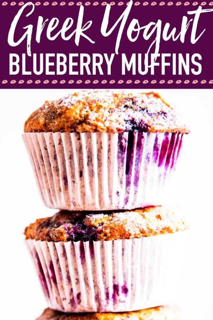 Greek Yogurt Blueberry Muffins Image Pin 2