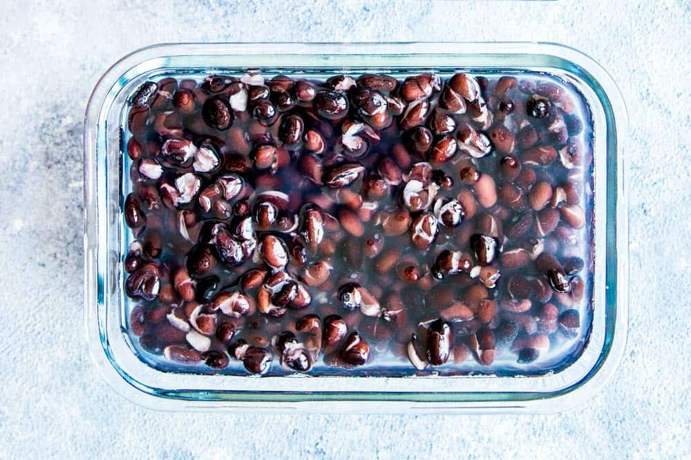 instant pot black beans in a freezer container