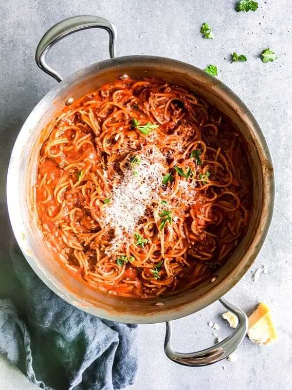 skillet with one pot spaghetti and meat sauce