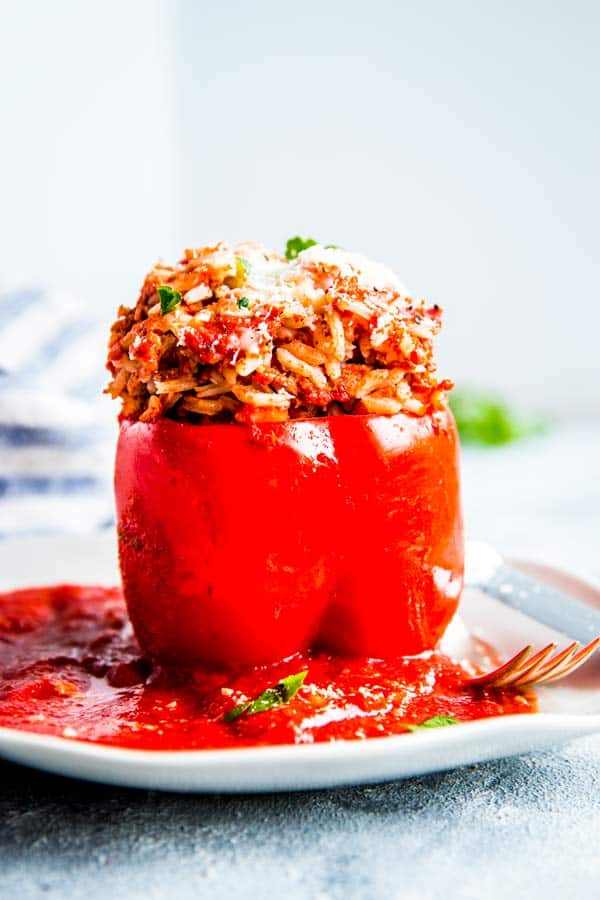 slow cooker stuffed pepper on a plate