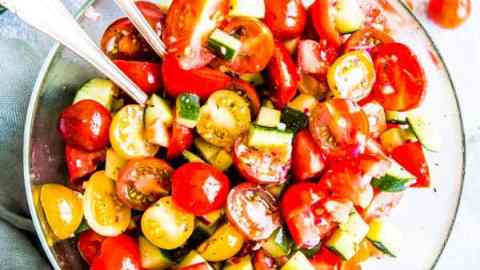 tomato cucumber salad in a bowl