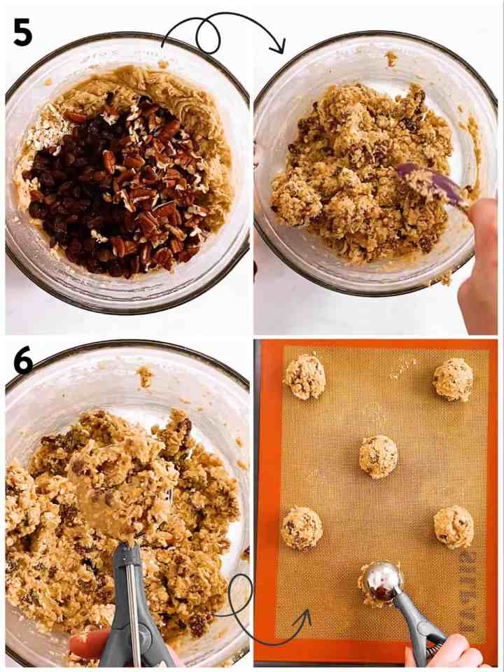 collage of steps to show shaping of oatmeal raisin cookie dough