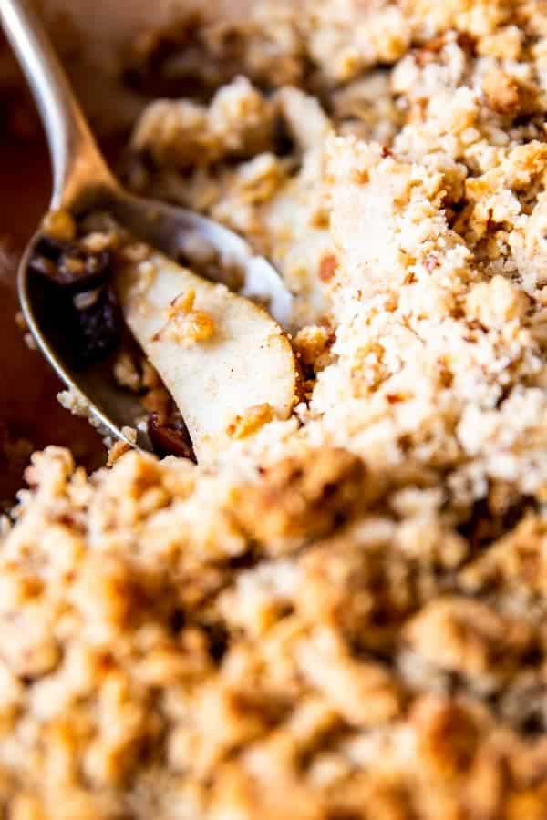 close up photo of pear crisp