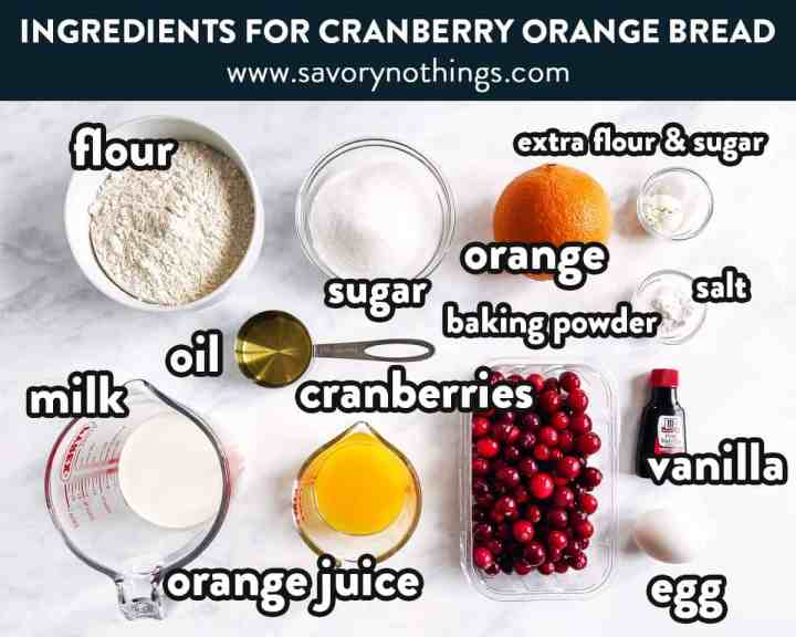 ingredients for cranberry orange bread with text labels