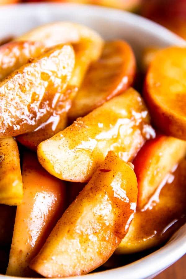 close up of cinnamon apples