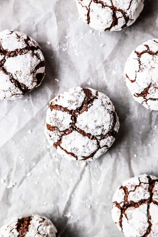 close up photo of chocolate crinkle cookies